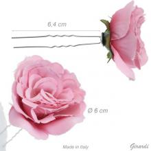 Metal Hair Pin With Pink Fabric Flower