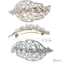 Fermacapelli Foglia in Metallo con Perle e Strass