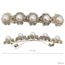 Hair Barrette Clips With Pearls And Strass