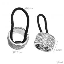 Plastic Snap Hair Tie With White Strass