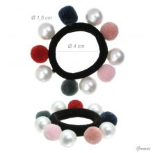 Hair Tie With Pearls And Pon Pon