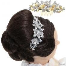 Metal Hair Comb With Flower Of Strass