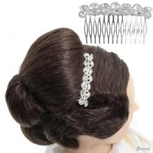 Metal Hair Comb With White Strass