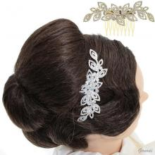 Metal Hair Comb With Leaves Of Strass