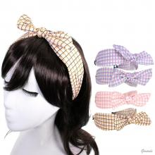 Checkered Headband With Front Bow