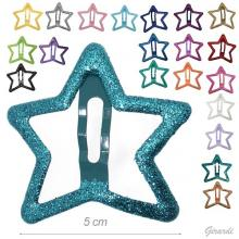 Snap Hair Clips Assorted Glittery Metal Star