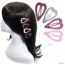 Snap Hair Clips Heart 5 Cm With Big Glitter 30pcs
