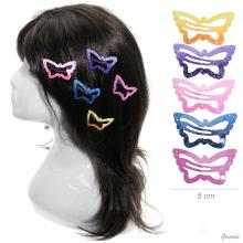 Snap Hair Clips Butterfly Shaped 5 Cm Glittered Painted