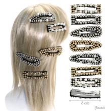Metal Snap Hair Clips Covered With Cloth And Beads