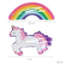 Snap Hair Clips Unicorn And Rainbow