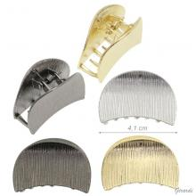 Hair Claw In Striated Metal In Silver, Gold O Burnished Color