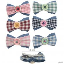 Crocodile Clip With Checked Bow And Button 20 Pcs