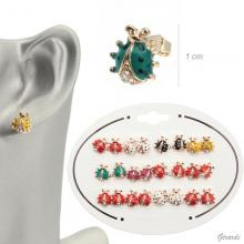 Ladybird Earrings In Glazed Metal And Assorted Strass