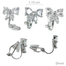 Clip Earrings With Bow Zircons 1.2 Cm