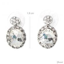 Oval Pendant Earrings With Strass
