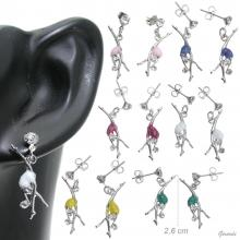 Earrings With Glitter Rhythmic Figure And Strass