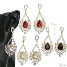 Metal Pendant Earrings With Strass