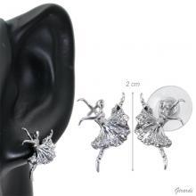 Stud Earring With Ballerina Attitude With Zircons