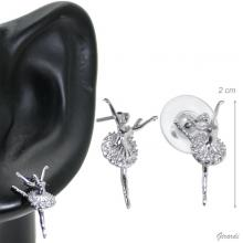 Stud Earring With Ballerina Attitude Dietro With Zircons