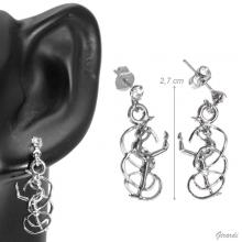Antiallergic Stud Earring Rhythmic With Ribbon