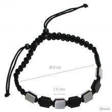 Men's Adjustable Bracelet With Metal Plates