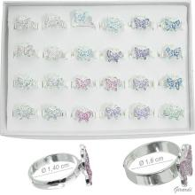 Girl Adjustable Rings With Glitter Butterfly