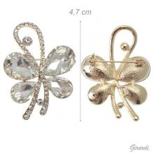 Butterfly Brooch With Rhinestones On A Gold-colored Base