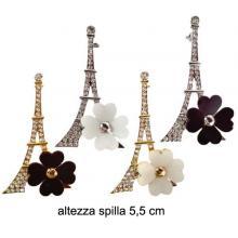 Spilla Metallo Torre Eiffel con Fiore