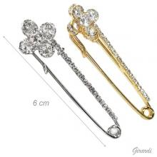 Safety Pin With Clover Of White Zirconia