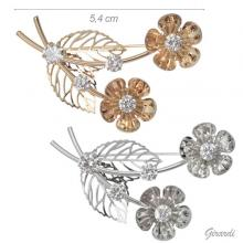 5.4 Cm Sprig Brooch With 2 White Flowers And Zirconia