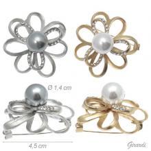 Metal Flower Brooch With Pearl 4.5 Cm