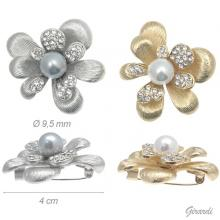 Metal Brooch Flower Pearl And Strass 4 Cm