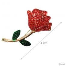 Metal Rose Brooch With Red Strass