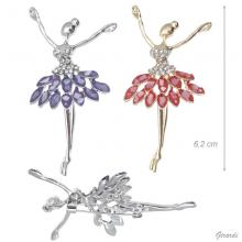 Metal Ballerina Brooch With Coloured Stones.