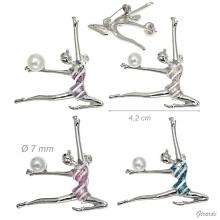 Metal And Glitter Brooch Rhythmic Gymnastic With Ball