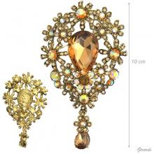 Strass Brooch With Drop Pendant