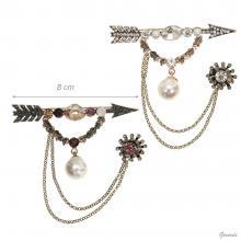 Spilla Balia Stile Vintage In Metallo Con Perla E Strass