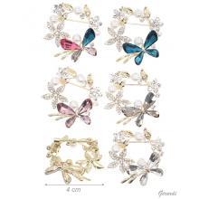 Rhinestone Crystal Flower Crown Metal Brooch
