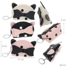 Faux Leather Coin Purse With Bow And Ears