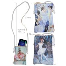 Faux Leather Crossbody Bag With Painting Of Ballerina