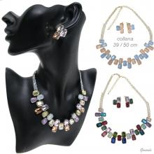 Necklace And Colored Acrylic Crystal Earrings