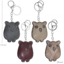 Faux Leather Owl Keychain With Strass