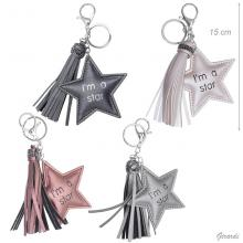 Faux Leather Star Keychain With Tassel And Strass