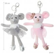 Little Mouse Ballerina Keychains-pink O Grey Colour