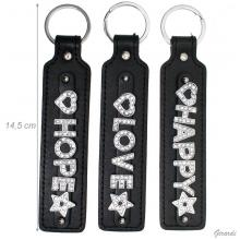 Leather Keychain With Written