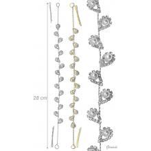 Decorazione Capelli In Metallo Con Strass E Perle