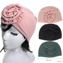 Solid Color Stretch Turban And Large Flower