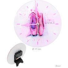 Glass Wall Clock With Watercolor Dance Shoe