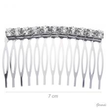 Metal Hair Comb With 11 White Strass