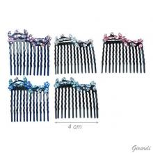 Hair Comb With Colored Strass Flower